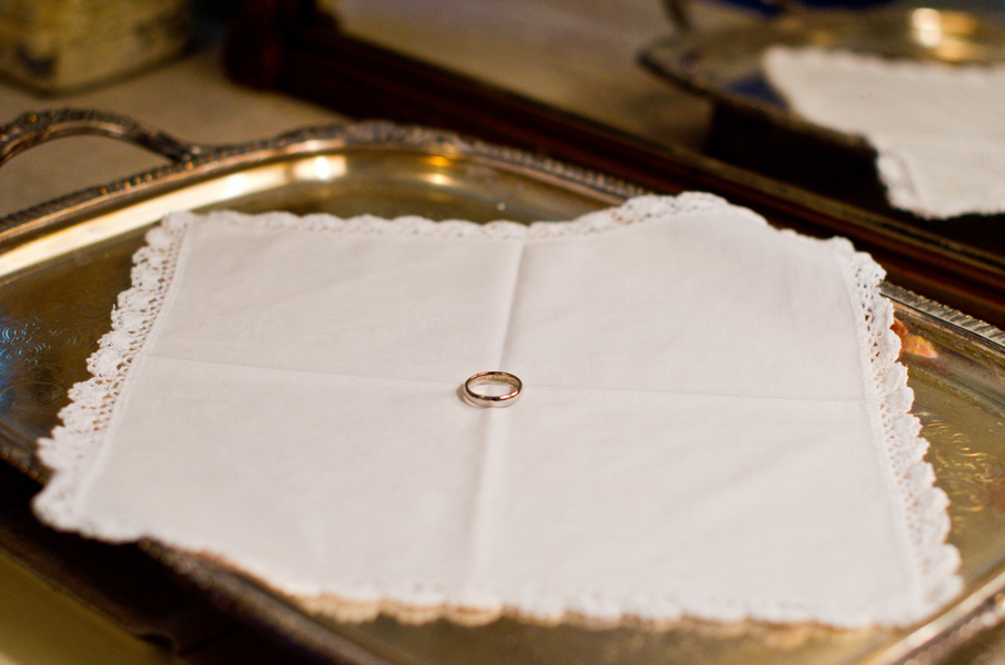 ring on vintage hankerchief