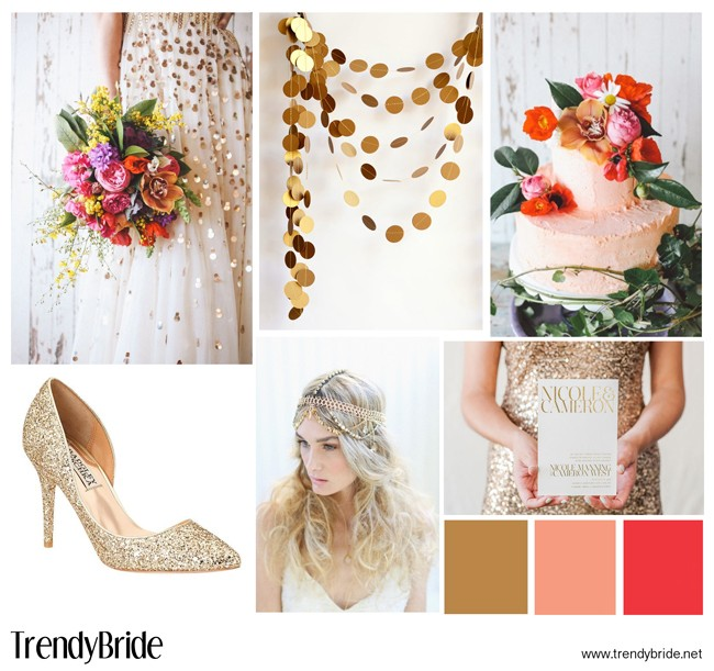 gold and coral wedding