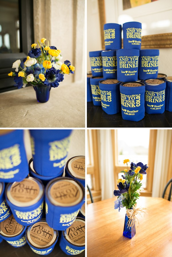 bue and yellow wedding decor