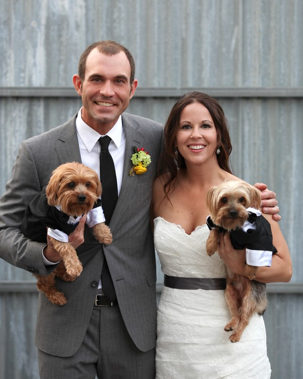 bride and groom with pets
