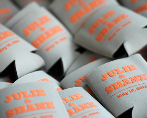 gray wedding coozie
