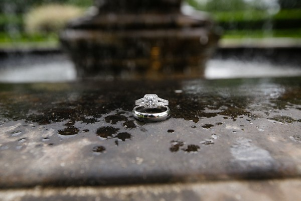 wedding rings in rain