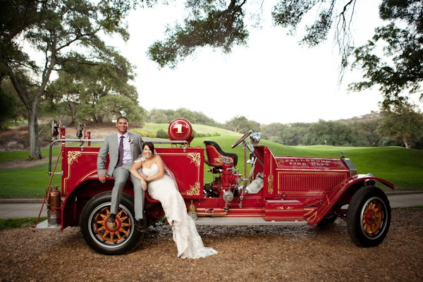 fire truck at wedding