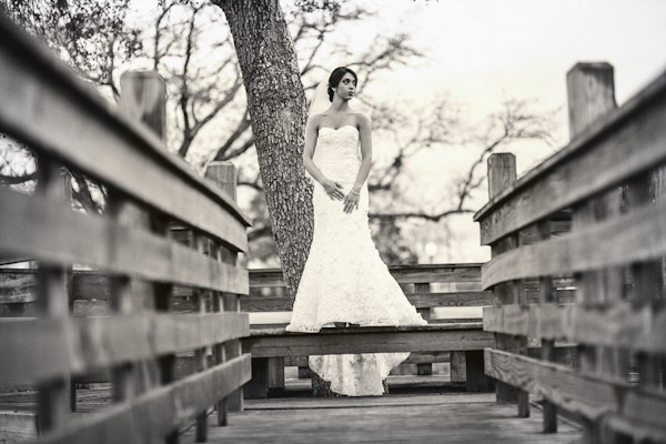 bridal portraits on bridge