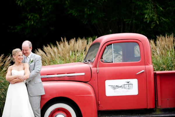 wedding couple by rustic truck