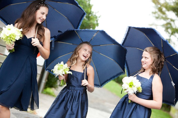 vintage blue wedding umbrellas