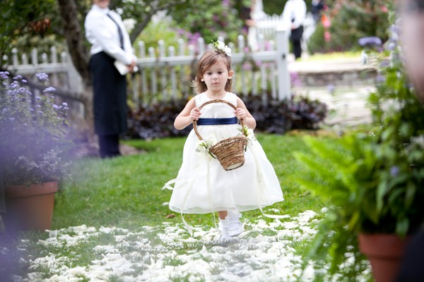 white and blue flower girl dress