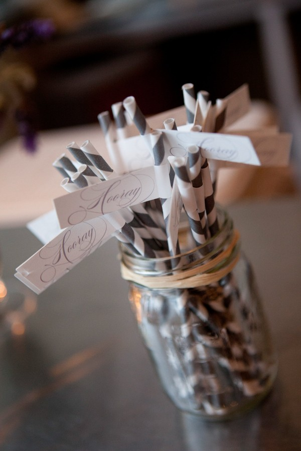 hooray white and gray wedding straws