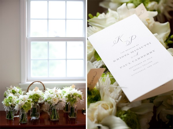 white and gray wedding program