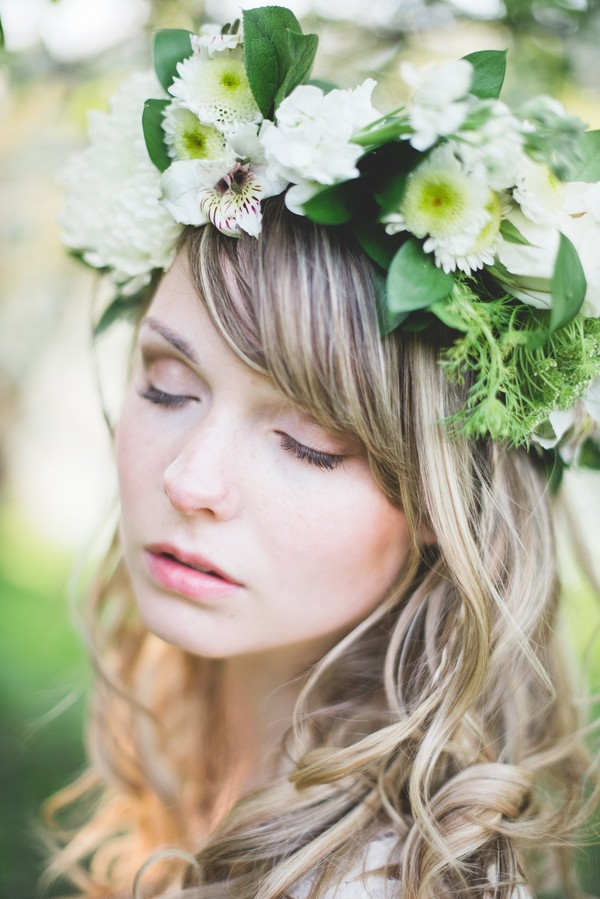 bride with flower wreath