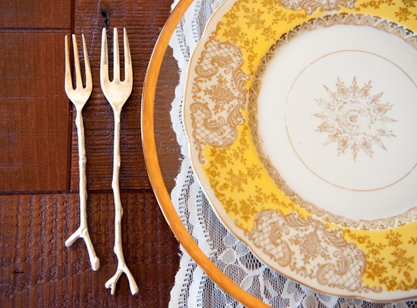 gold and white plate