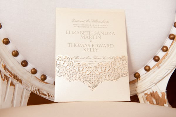 lace inspired wedding invitation