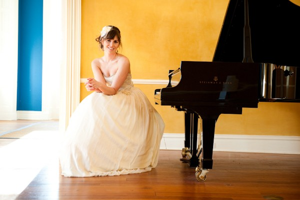 bride by piano
