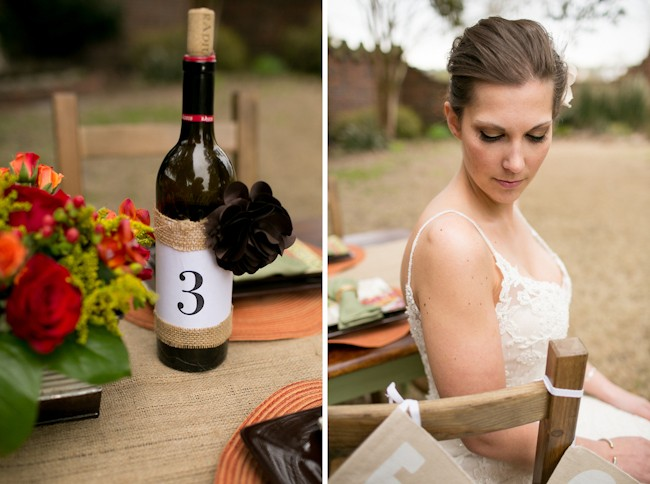 burlap covered wine bottle table number