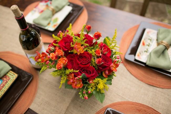 red rose wedding centerpiece