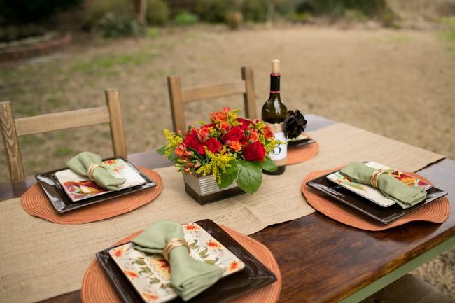 rustic table wedding setting