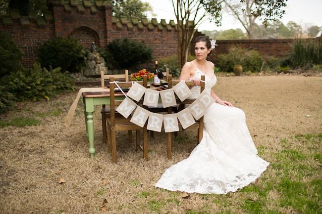 just married burlap wedding garland
