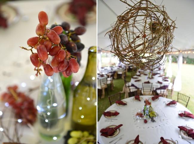 grape light wedding centerpiece