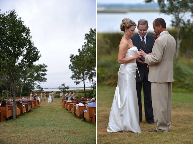 outdoor wedding with church pews