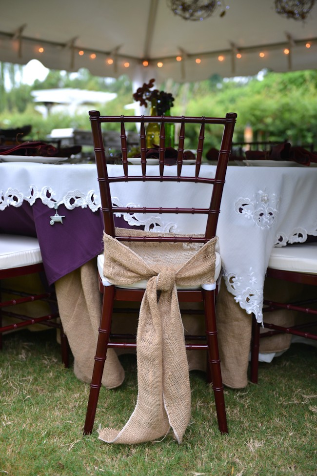 burlap chair wrap
