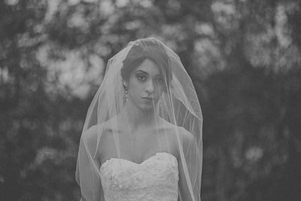 veil over bride's face