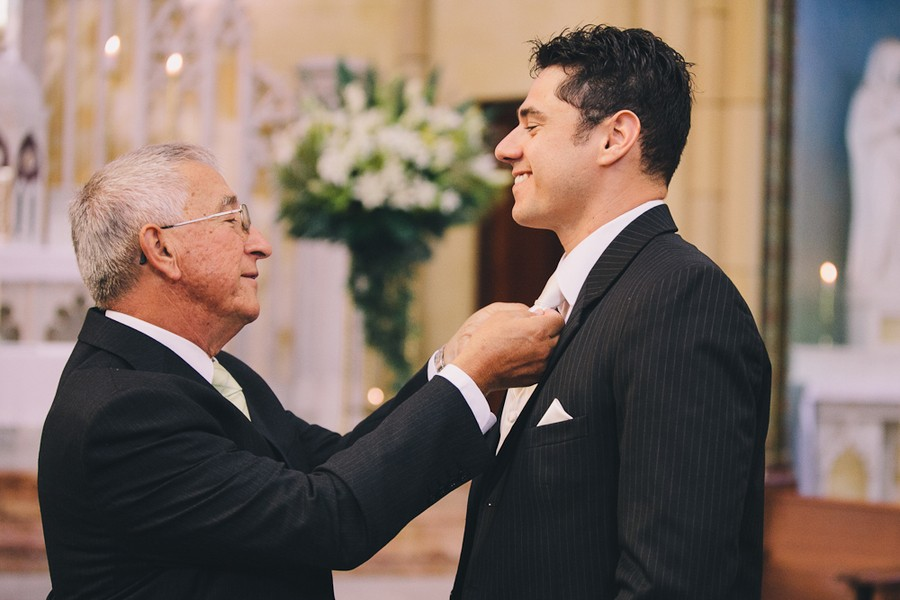 groom and father before ceremony