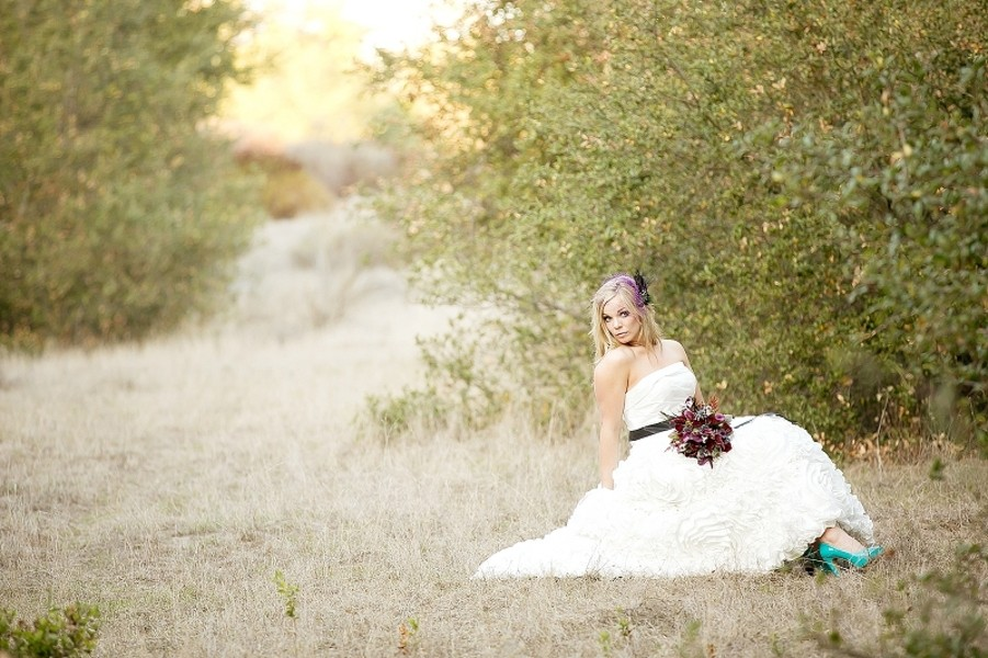 bride with teal shoes