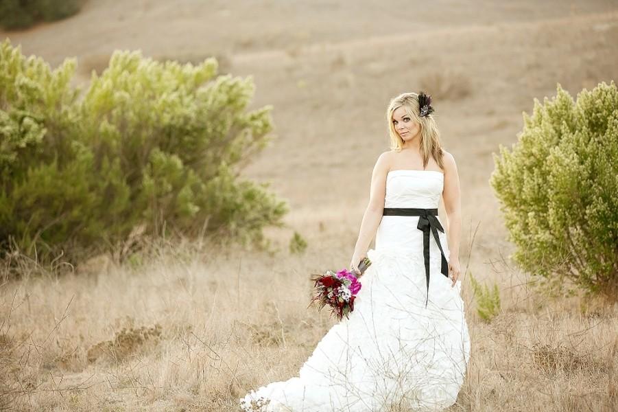 bride in open field