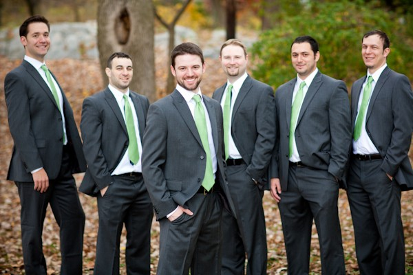 groom in green tie