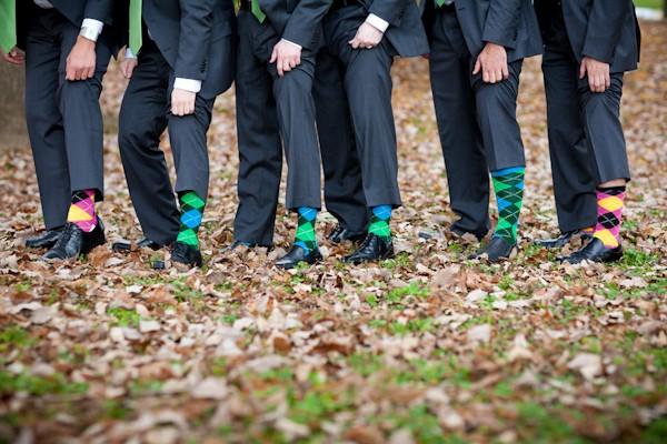 groomsmen in argyle socks