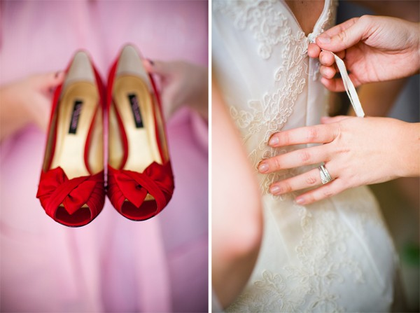 modern red wedding shoes