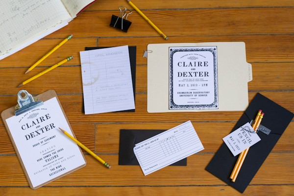 school inspired wedding invitations