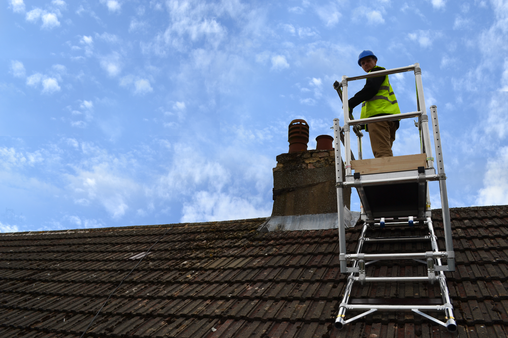 chimney scaffolding, klikstak chimney access, mk tower services, roof access