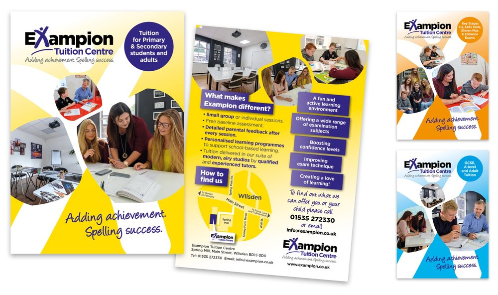 A suite of three promotional leaflets were created (General; Primary; Secondary/Adult) to communicate clearly the different key elements that Exampion offers to its students.