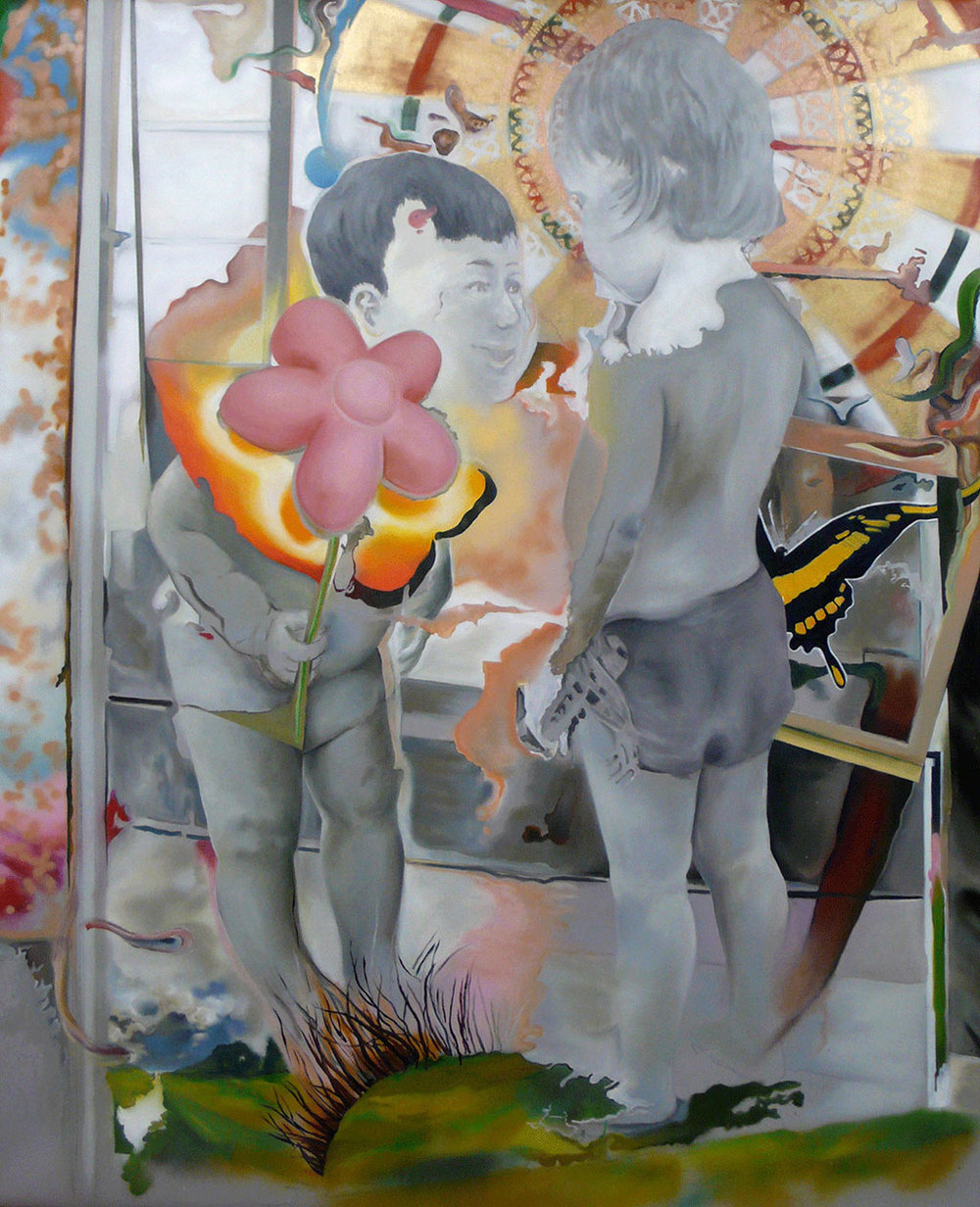 Il cavaliere della rosa, 2011, Oil and spray paint on PVC, 245 x 200 cm