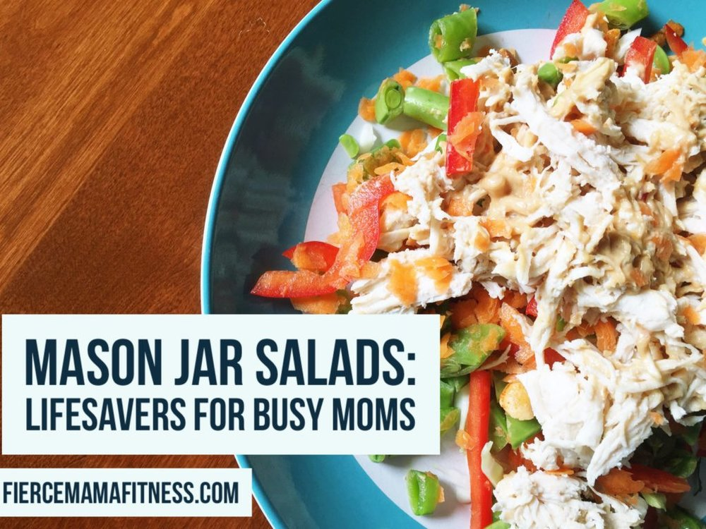 Mason jar salads are lifesavers for busy moms! More info at fiercemamafitness.com