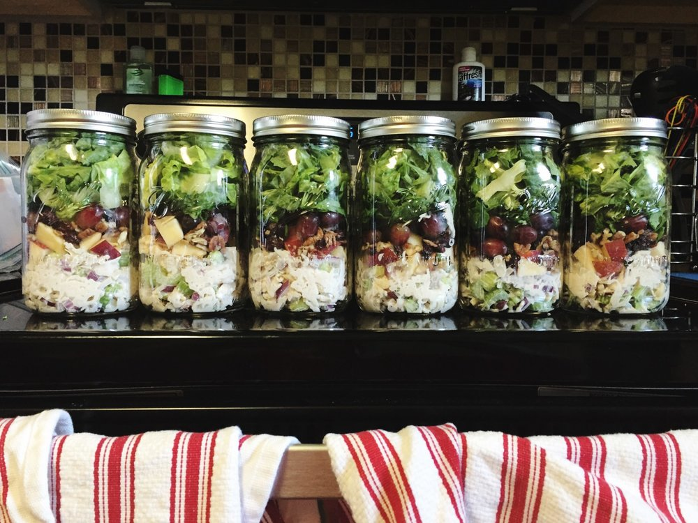 Chicken, pecan, and apple mason jar salads
