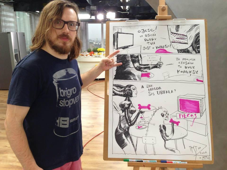 """Przemysław Truściński with his Pieces inspired comic page created live on TV """"Dzień Dobry TVN"""", TVN, Poland"""