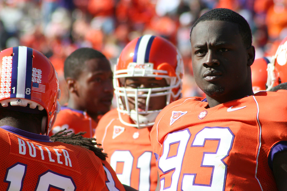 Gaines Adams at Clemson. Image courtesy of Wikimedia.