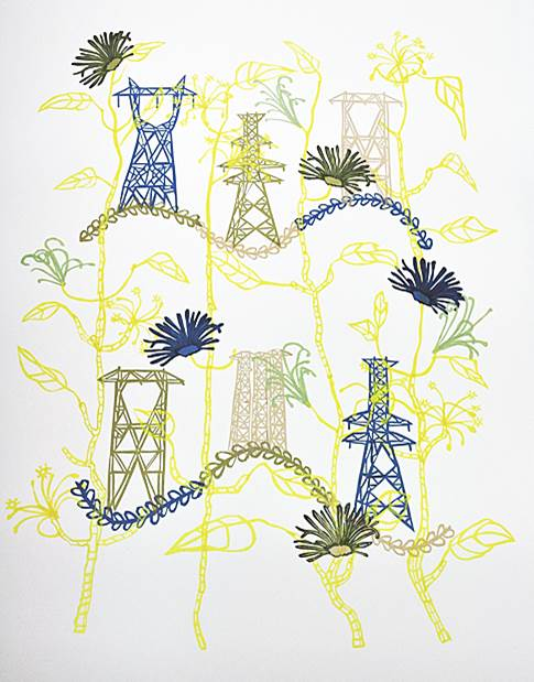 Susan Graham Toile Print 4, 2017 Chine colle paper cut out on cotton