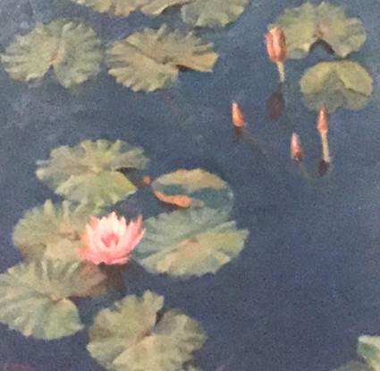 Ella Yang Water Lily with Four Buds, 2015 Oil on cradled panel