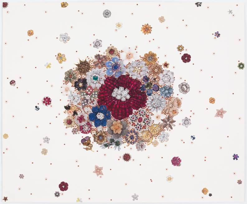 Rachel Selekman Double Jeweled Bouquet, 2016 Rhinestones, beads and thread collage on paper