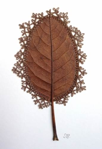 Susanna Bauer Adornment IX, 2016 Magnolia leaf and cotton thread