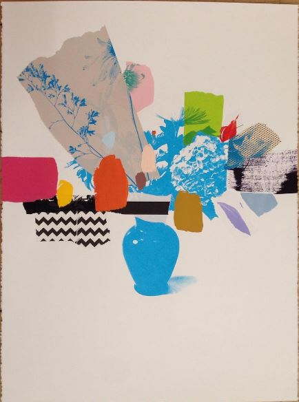 Emily Filler Paper Bouquet (Blue Hydrangea), 2017 Mixed media on paper