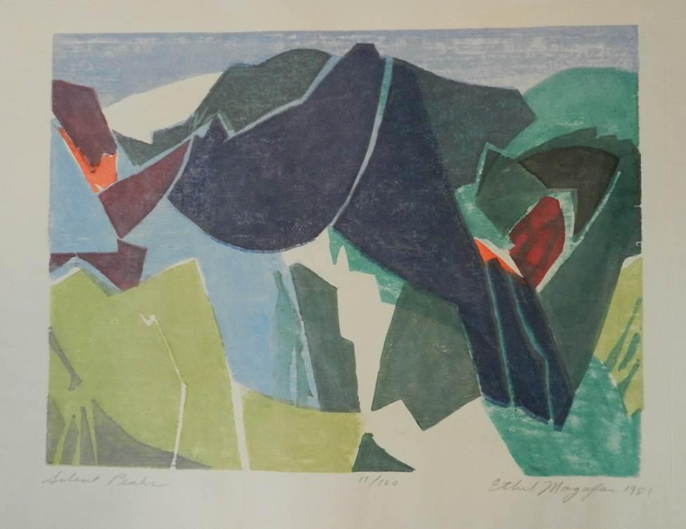 Ethel Magfan Silent Peaks, 1983 Etching