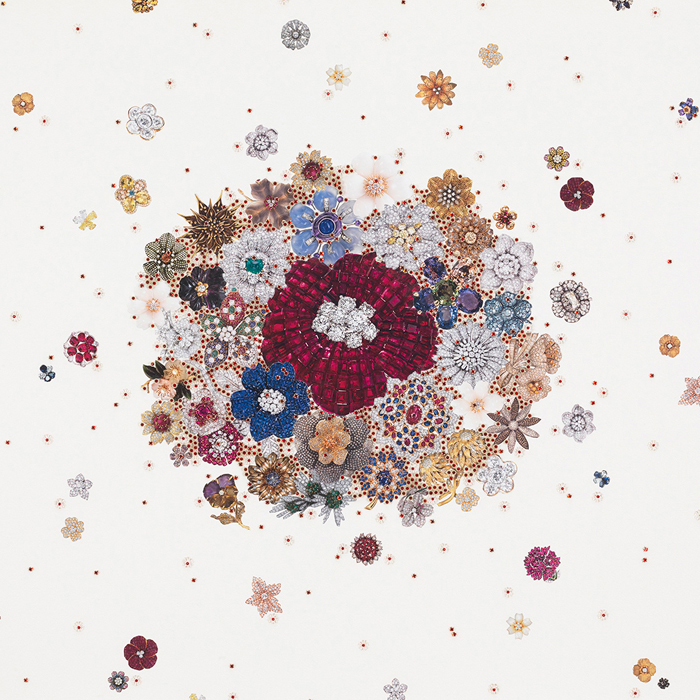 Rachel Selekman,  Double Jewelled Bouquet , 2016 Beads, rhinestones, thread and collage on paper