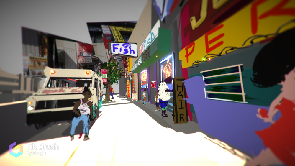 Tom Christopher Still from A Bronx Virtual Painting Tiltbrush VR Application, HTC Vive Headset, and MSI Computer