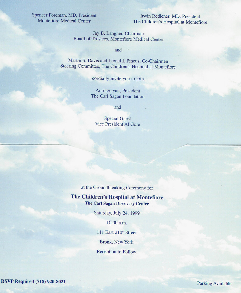 Invitation to the Ground Breaking of the new Children's Hospital at Montefiore, July 24, 1999