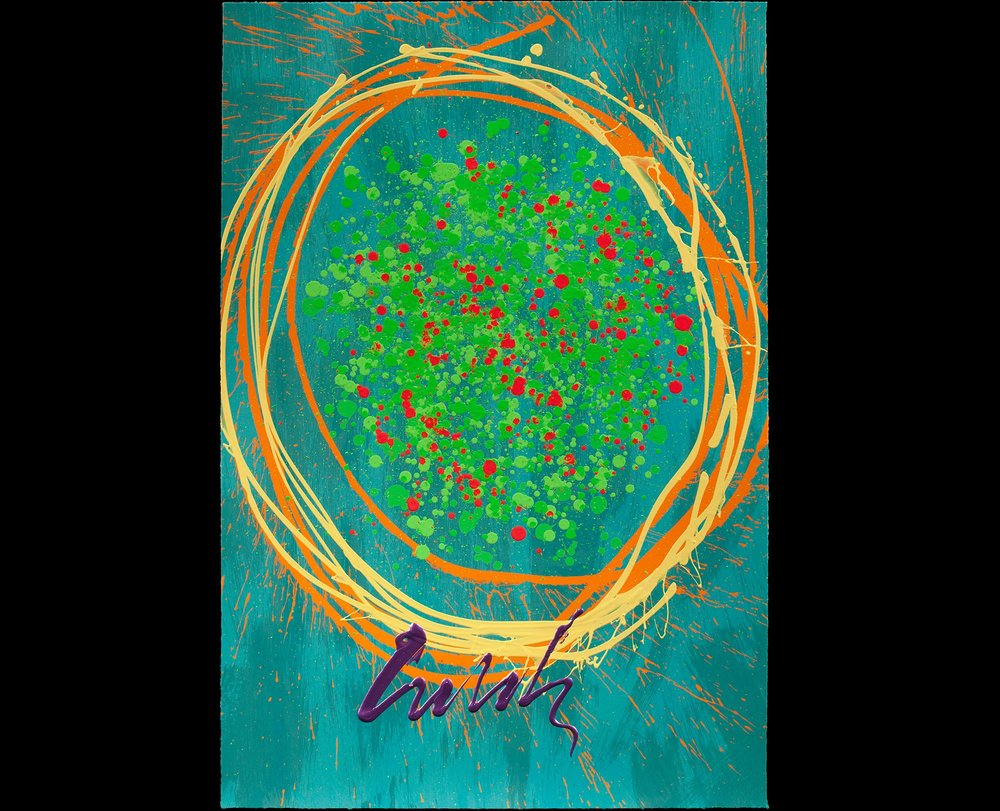 Dale Chihuly Spring Fling, 2015 4 color lithograph with handwork