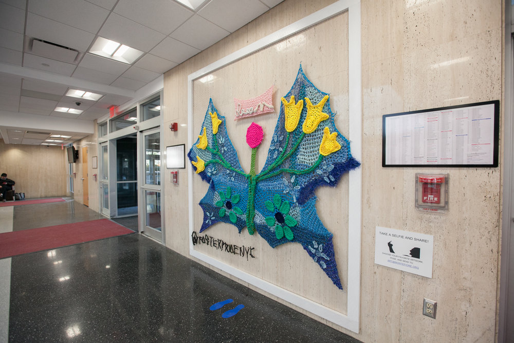 Crochet Installation in Main Lobby of the Montefiore Moses Campus